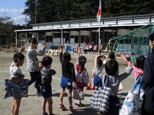 幼稚園から徒歩で移動