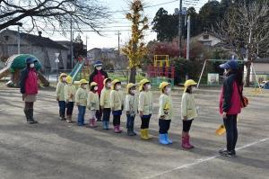 幼稚園をいざ出発