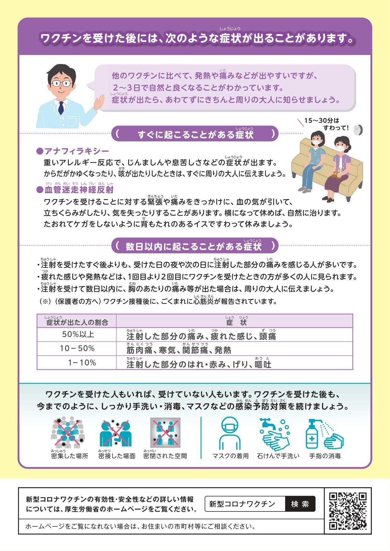 12歳以上のお子様と保護者のかたへコミナティ(ファイザー社)新型コロナワクチン接種についてのお知らせ(裏)